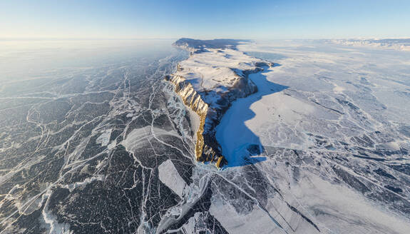 Aerial view of frozen Baikal Lake, Russia - AAEF04767