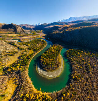 Aerial view of Chuya river crossing landscape, Russia. - AAEF04860