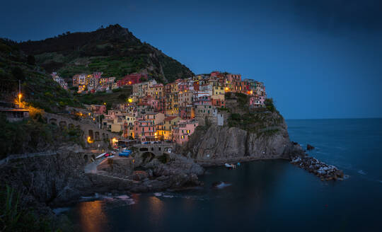 Aerial view of Manarola colorful houses during the night, Italy - AAEF05088