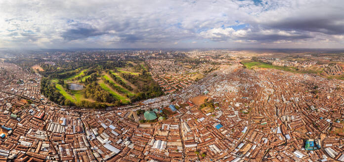 Aerial view of poor neighborhood in Nairobi, Kenya - AAEF05352