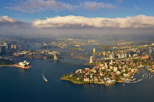 Aerial view of the bay of Sydney, Australia - AAEF05457