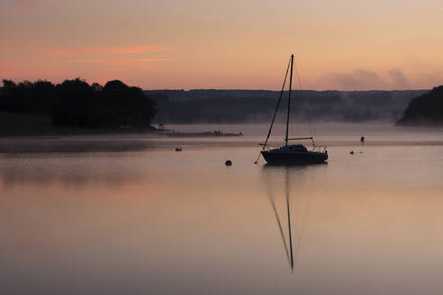 Wimbleball Lake at dawn, Exmoor National Park, Somerset, England, United Kingdom, Europe - RHPLF12299
