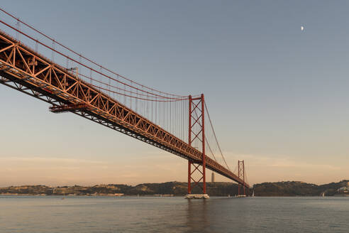 25th of April Bridge in Lisbon at sunset, Portugal - AHSF00997