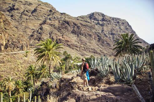 Hiker looking to mountain, El Guro, Valle Gran Rey, La Gomera, Spain - MAMF00914