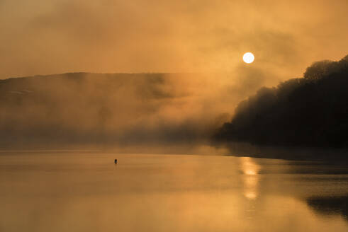 Wimbleball Lake at sunrise, Exmoor National Park, Somerset, England, United Kingdom, Europe - RHPLF12491