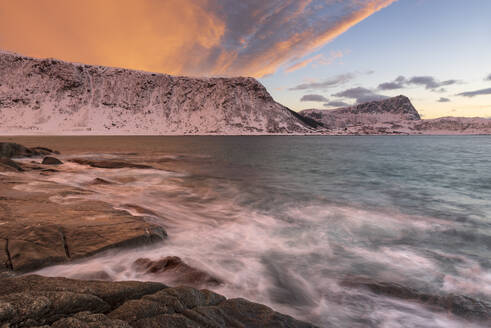 Dramatic sunset at Haukland Beach, Lofoten, Nordland, Arctic, Norway, Europe - RHPLF12608