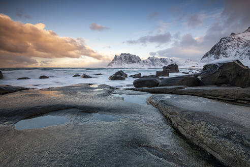 Rock formations at Uttakleiv Beach, Vestvagoy, Lofoten Islands, Nordland, Arctic, Norway, Europe - RHPLF12611