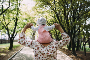 Mother walking in a park with baby girl on her shoulders - GEMF03235