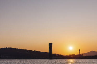 Panoramic view of the city Barcelona at sunset, Spain - MOSF00116