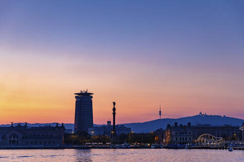 Panoramic view of the city Barcelona at sunset, Spain - MOSF00119