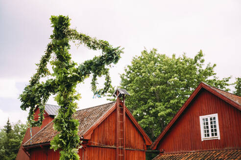Maypole in front of wooden houses - JOHF04410
