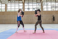 Female boxers practising in sports hall - STBF00466
