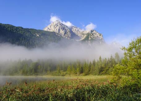 Wettersteinspitze und Ferchensee, bei Mittenwald, Werdenfelser Land, Wettersteingebirge, Oberbayern, Bayern, Deutschland - SIEF09225