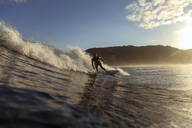 Surfer on a wave at sunset time - CAVF67336