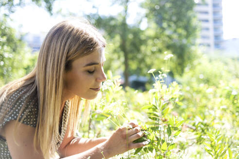 Young blonde woman eyes closed smelling flowers in a park - CAVF67635