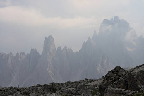 Scenic view of mountains during foggy weather - CAVF67704