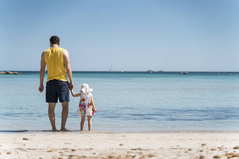 Rear view of father with daughter standing on the beach - DIGF08810