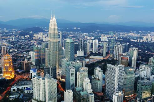 Cityscape of Kuala Lumpur at dusk, Malaysia - GIOF07412