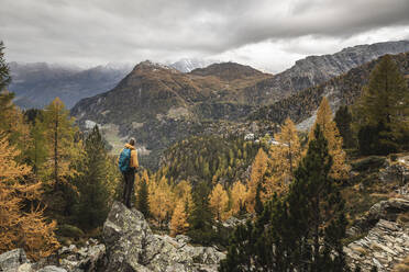 Hiker standing and looking over alpine plateau in autumn, Sondrio, Italy - MCVF00067