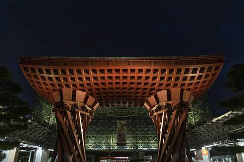 Japan, Ishikawa Prefecture, Kanazawa, Tsuzumi Gate of Kanazawa Station at night - ABZF02729