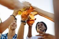 Happy multi-ethnic friends toasting drinks - SODF00183