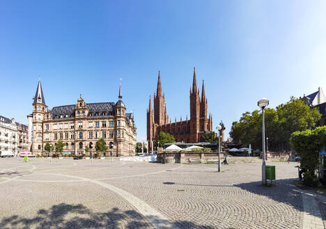 View over market square with new city hall and church, Wiesbaden, Germany - AMF07454