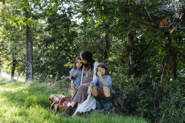 Pregnant mother with two kids having a picnic in the countryside - SODF00339