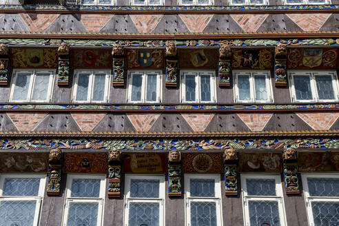 Germany, Lower Saxony, Hildesheim, Details of half-timbered house in Historic Market Square - RUNF03404