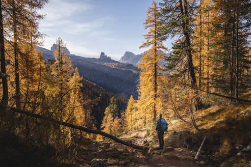 Hiker enjoying Dolomites in autumn, Veneto, Italy - MCVF00084