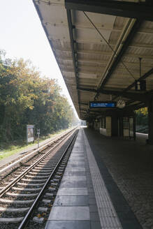 Empty railway station in autumn, Berlin, Germany - AHSF01068