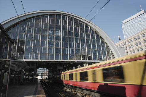 Train station at Alexanderplatz with suburban train coming in, Berlin, Germany - AHSF01140