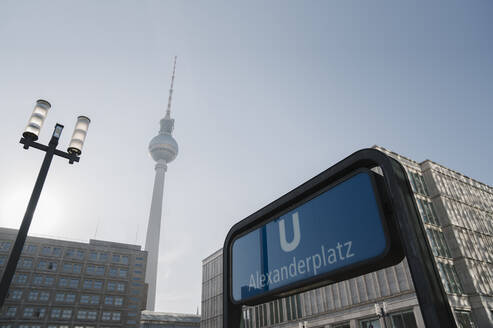 View to television tower with underground sign in the foreground, Berlin, Germany - AHSF01143