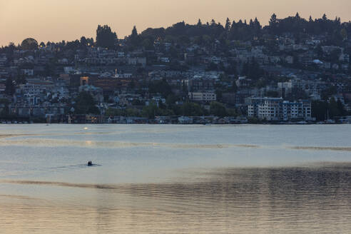 Crew racers rowing double scull boat on Lake Union at dawn, Seattle, Washington, USA. - MINF12832