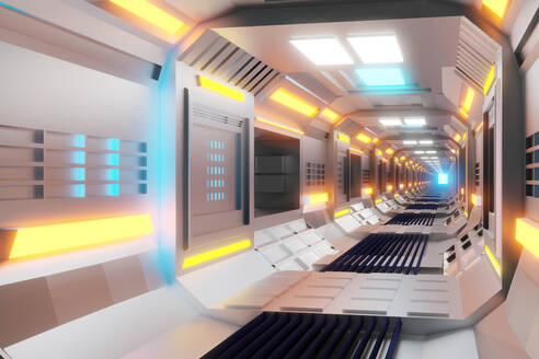 3D Rendered Illustration, visualisation of a science fiction spaceship, gangway - SPCF00496