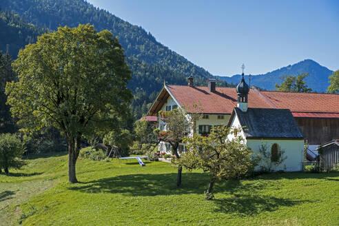 Hof Letten mit der 'Weilerkapelle, Letten Lenggries, Jachenau, Isarwinkel, Oberbayern, Bayern, Deutschland - LBF02777