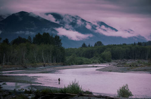 Fly fisherman on the Hoh River on the west side of Olympic National Park. - CAVF68618