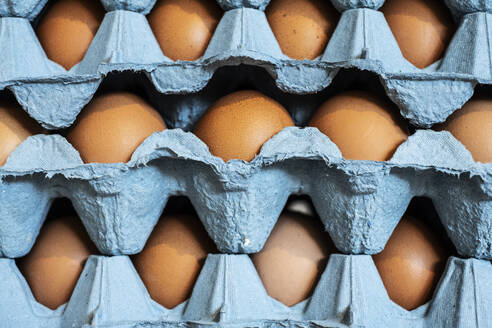 Full frame close up of a stack of blue cartons with brown eggs. - MINF13177