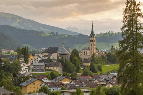 View of Radstadt and church of Maria Unbefleckte Empfangnis, Styria, Austrian Tyrol, Austria, Europe - RHPLF12662