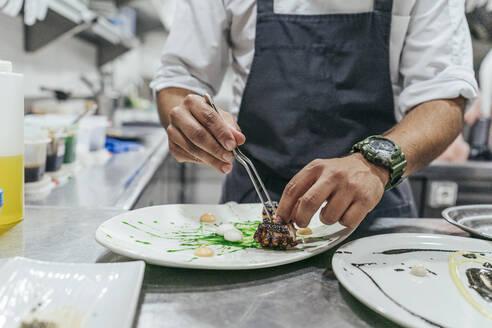 Chef garnishing plate with food - MTBF00182