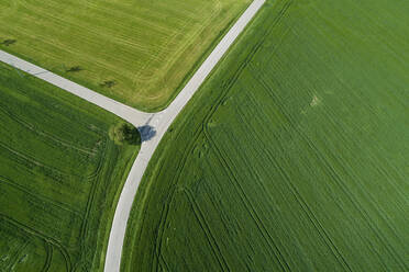 Germany, Bavaria, Aerial view of country roads cutting through green countryside fields in spring - RUEF02363
