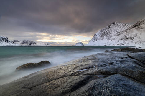 Rock formation in winter at Haukland Beach, Lofoten, Nordland, Norway, Europe - RHPLF12903