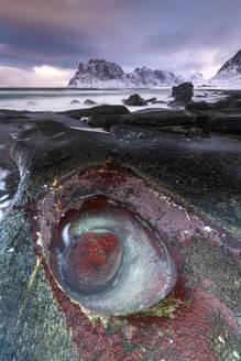 Unusual rock formation at Uttakleiv Beach, Vestvagoy, Lofoten Islands, Nordland, Norway, Europe - RHPLF12906