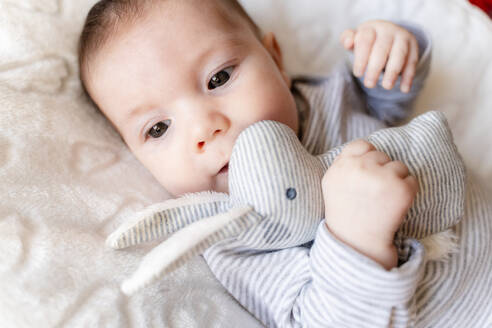 Baby girl lying on a white blanket with clouds and holding a rabbit toy - GEMF03303
