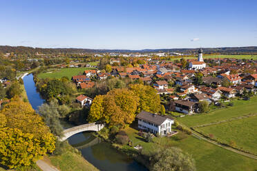 Germany, Bavaria, Geretsried, Aerial view of countryside town in autumn - LHF00760