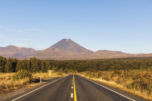 New Zealand, North Island, Diminishing perspective of State Highway 48 with Mount Ngauruhoe looming in background - FOF11104