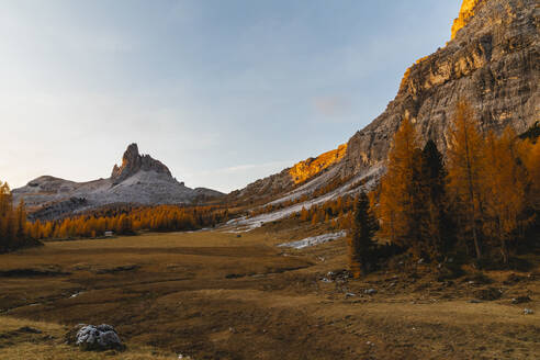 Autumn mountain landscape at the morning light, Dolomites, Cortina, Italy - MRAF00438