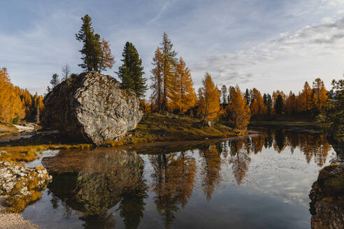 Autumnal mountain landscape reflected in the lake, Dolomites, Cortina, Italy - MRAF00444