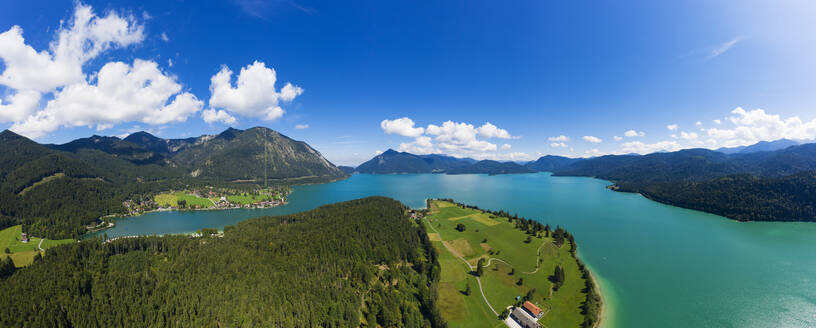 Germany, Bavaria, Aerial panorama of Lake Walchen and Zwergern peninsula in summer - SIEF09333