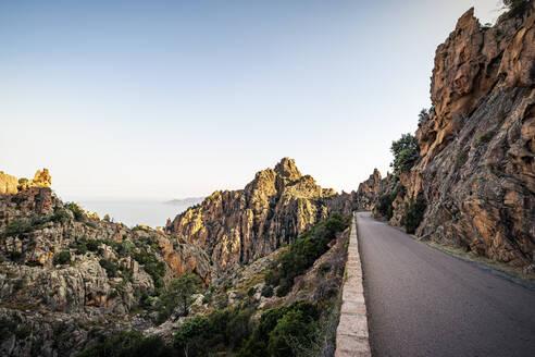 Empty road, Calanchi di Piana, Calanche, Corse-du-Sud, Corsica, France - MSUF00023