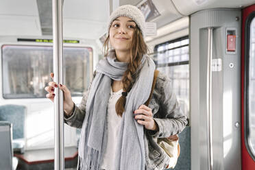 Portrait of young woman in a metro - AHSF01455